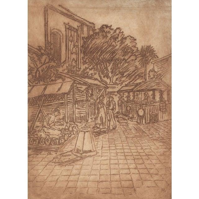 David Rosenthal Etching - El Pueblo de Los Angeles - Image 1 of 4