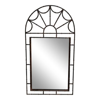 Chinoiserie Faux Bamboo Iron Wall Mirror For Sale