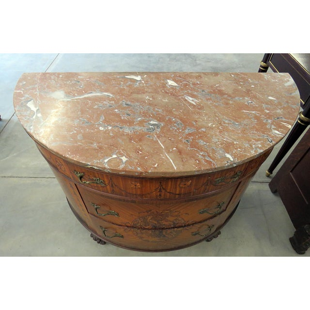 Marble 20th Century EnglishTtraditional Adams Style Marble Top Demilune For Sale - Image 7 of 9