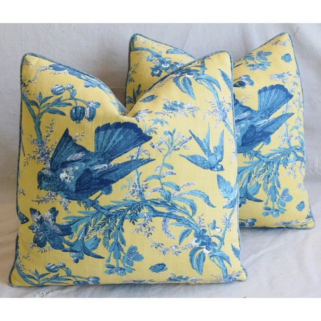 """Blue Designer Blue & Yellow Bird and Butterflies Feather/Down Pillows 21"""" Square - Pair For Sale - Image 8 of 13"""