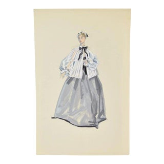 Ballet Dancer Victorian Nurse or Nanny Costume Original Painting by Andre Delfau For Sale