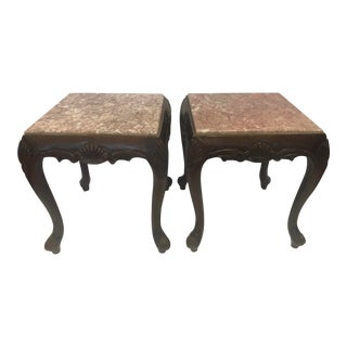 Carved Mahogany Marble Top End Tables - a Pair For Sale