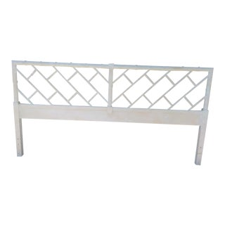 Vintage Fretwork White Wash King Size Palm Beach Regency Faux Bamboo Wood Headboard For Sale