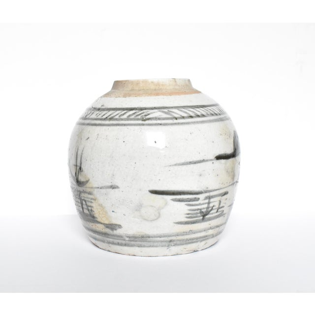 Chinese Antique C. 1840 Chinese Canton Blue & White Ginger Jar For Sale - Image 3 of 13