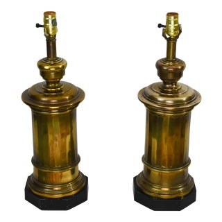 Vintage Brass Ethan Allen Column Lamps - a Pair For Sale