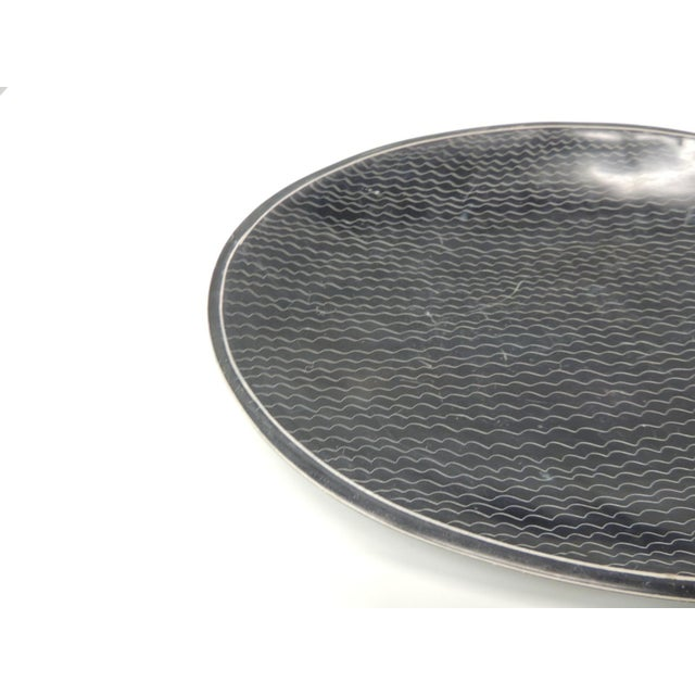 African Besmo soapstone black and white oval decorative tray. Tribal pattern bowl from Kenya. Note: This item cannot be...