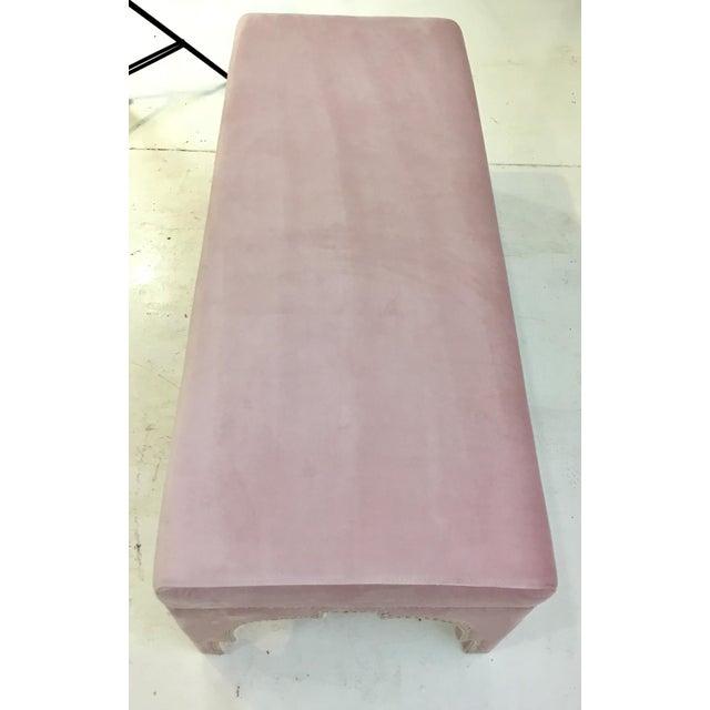 Worlds Away Worlds Away Modern Blush Velvet Matilda Bench For Sale - Image 4 of 5
