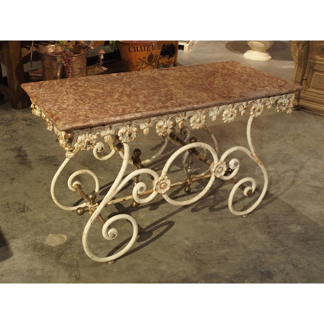 Fantastic 19th Century Iron and Bronze French Butchers Display Table With Rosso Verona Marble Top For Sale - Image 13 of 13