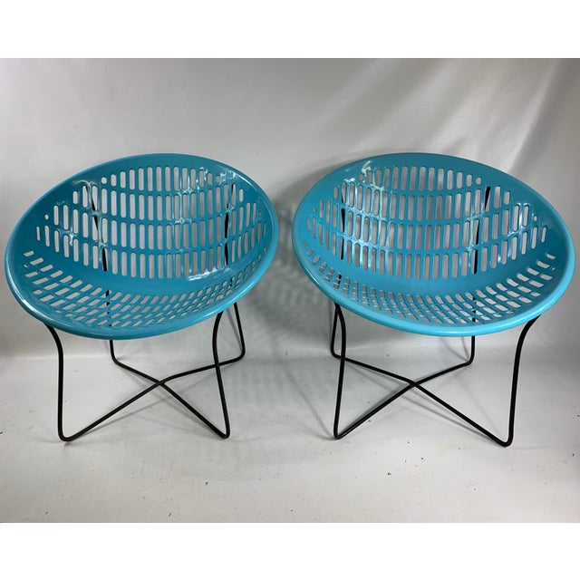 Mid Century Howard Johnson Hotel Blue Solar Lounge Chairs- a Pair For Sale - Image 9 of 9