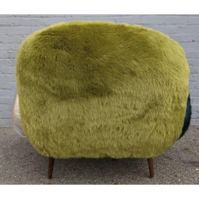 Faux Fur and Leather Lounge Chair For Sale - Image 4 of 9