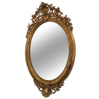 19th Century French Giltwood and Gesso Oval Mirror For Sale