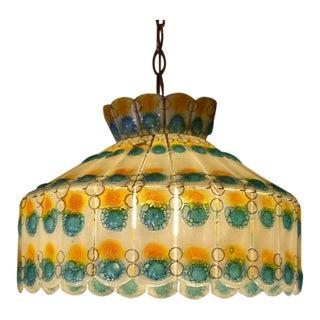 1960s Vintage Higgins Style Modern Fused Glass Chandelier For Sale