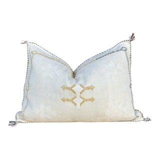 Beige Lumbar Moroccan Silk Rug Pillow For Sale