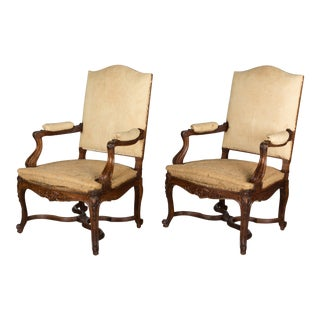 Pair of French Regence Style Fauteuils For Sale