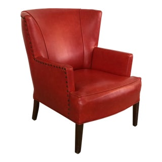 1950s Red Leather Wingback Club Chair