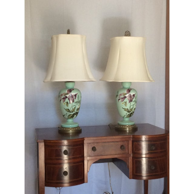 1930s Hand Painted Porcelain Lamps - a Pair For Sale - Image 12 of 12