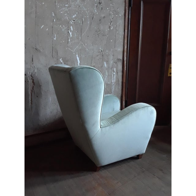 Pair of Light Blue/Green Wingback Chairs For Sale - Image 4 of 5