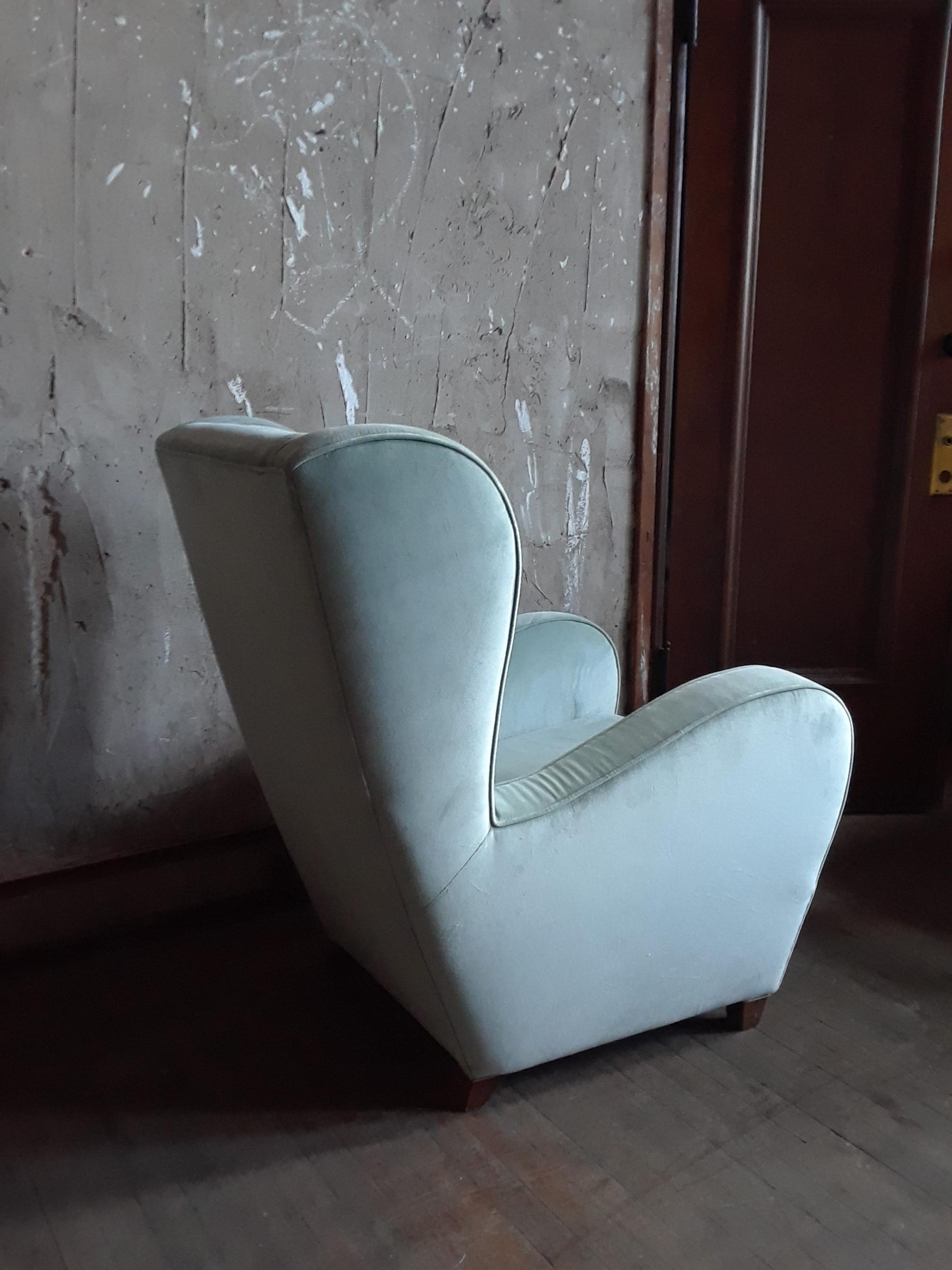 Pair Of Light Blue/Green Wingback Chairs