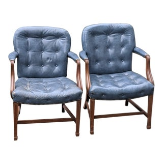 Vintage Kittinger Blue Leather Arm Chairs - a Pair For Sale