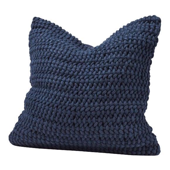 Coyuchi Indigo Woven Rope Organic Pillow Cover For Sale