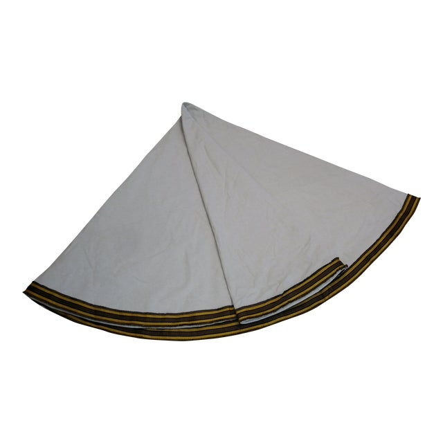 """96"""" Gold Trim Linen Lined Table Cloth For Sale"""