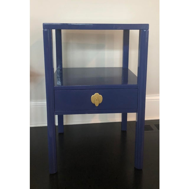 Blue 1950's Landstrom Furniture High Gloss Nightstand For Sale - Image 8 of 8