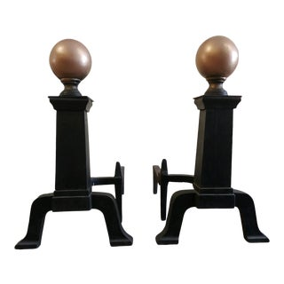 Vintage Andirons Classic Style Gold Painted Spheres - a Pair For Sale