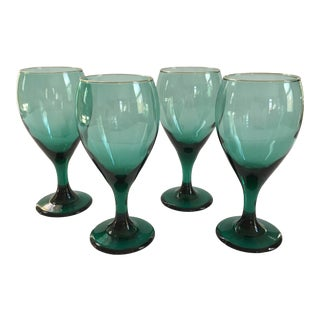 Set of 8 - 1970s Modern Teal Colored Goblets For Sale