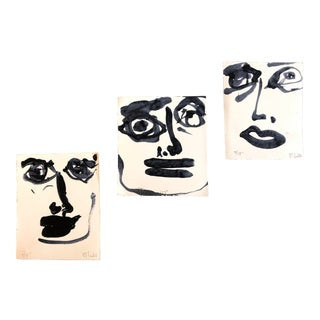 Gallery Wall Collection 3 Original Contemporary Robert Cooke Abstract Face Paintings Set of 3 For Sale