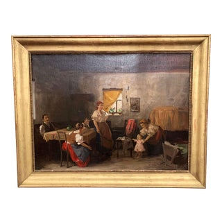 19th Century Hungarian Oil on Canvas Painting in Gilt Frame Signed & Dated, 1897 For Sale