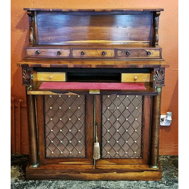 18c British Regency Bureau Secretaire Chiffonier in the Manner of Gillows For Sale - Image 13 of 13