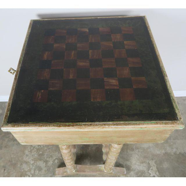 Vintage English Checkerboard Top Game Table For Sale - Image 9 of 10