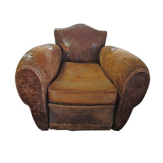 Distressed Brown Leather Club Chair For Sale