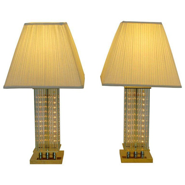 Mid-Century Modern Sciolari Brass & Glass Rod Table Lamps, 1970s Italian - a Pair For Sale In Detroit - Image 6 of 6