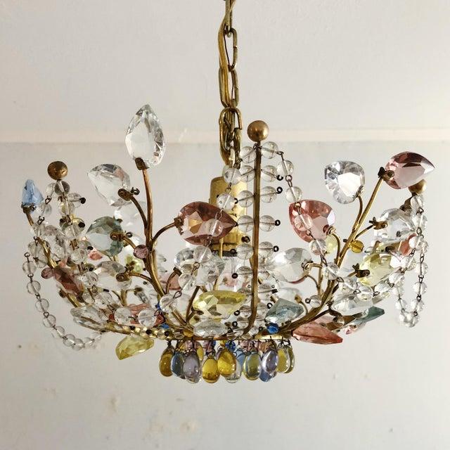 Antique Maison Bagues Style Multi Color Austrian Crystal Ceiling Pendant Chandelier on Brass Frame For Sale - Image 9 of 9