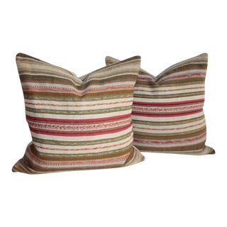 19th Century Rag Rug Pillows - a Pair For Sale