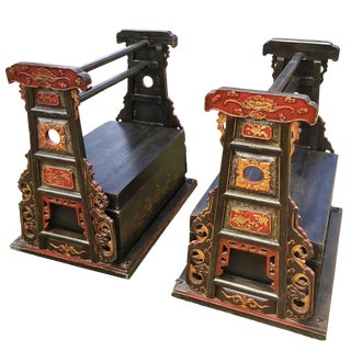 Pair of Chinese Wedding Baskets, Republic Era, Ornate, Signed For Sale