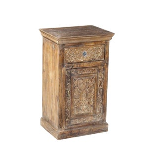 Rustic White Washed Teakwood Tall Bedside Cabinet For Sale