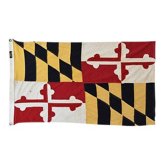 "Vintage Maryland State Flag W/ Calvert and Crossland Family Crest 54"" X 32"""