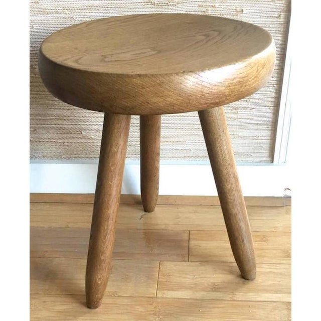 Mid-Century Modern Charlotte Perriand 1950s High Tripod Ash Tree Stool in Vintage Condition For Sale - Image 3 of 8
