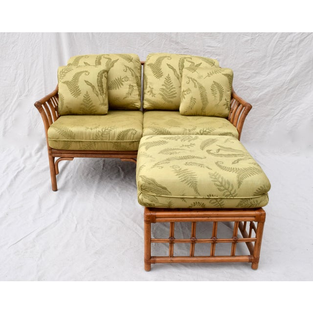 Ficks Reed Style Settee & Ottoman For Sale - Image 12 of 13