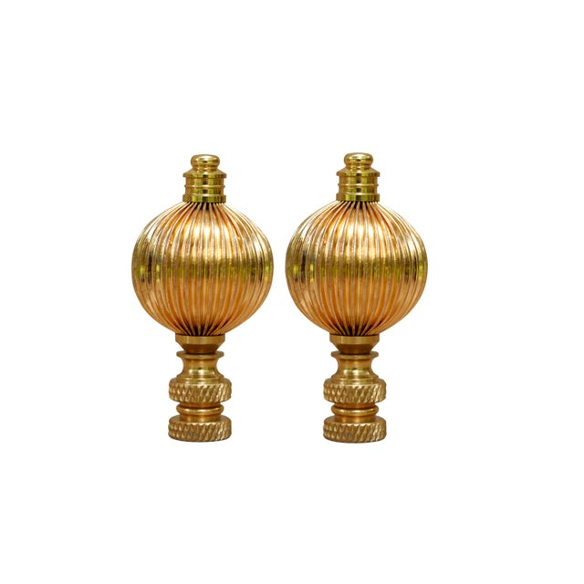 Ribbed Brass Ball Finials - a Pair For Sale - Image 4 of 4