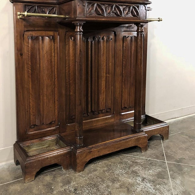 19th Century French Walnut Gothic Hall Tree For Sale - Image 10 of 12