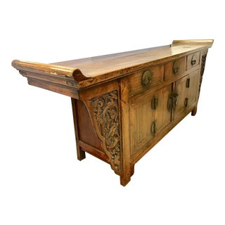 Antique Carved Chinese Altar Table Chest Buffet Sideboard Server For Sale