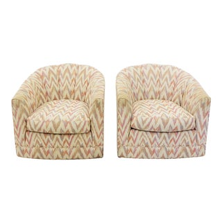 Vintage Flame Stitch Channel Back Club Chairs - A Pair
