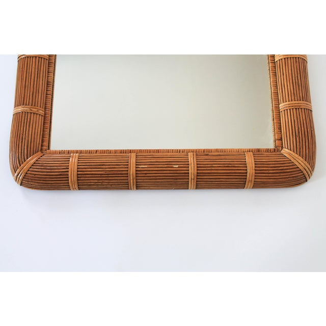 Boho Style Arched Wicker Mirror For Sale - Image 4 of 7