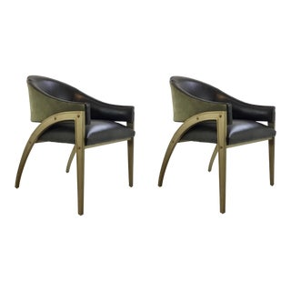 Caracole Modern Leather Architects Lounge Chairs Pair For Sale