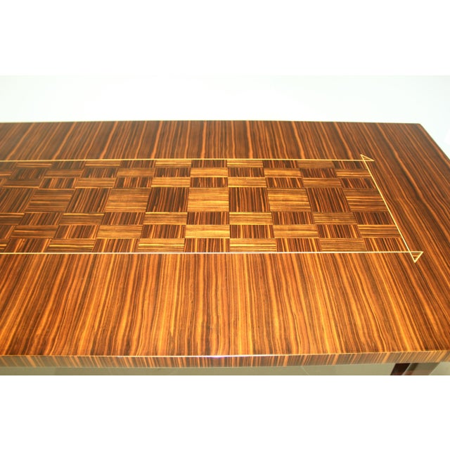 1940s 1940s Art Deco Exotic Macassar Ebony Writing Desk/Dining Table For Sale - Image 5 of 13