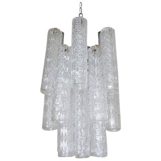Vintage Italian Tronchi Murano Glass Chandelier by Venini For Sale