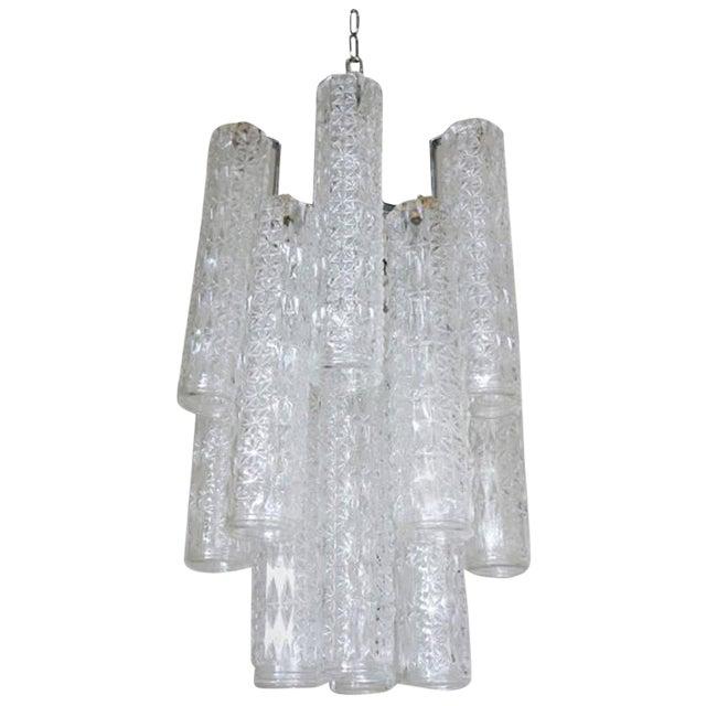 Vintage Italian Tronchi Murano Glass Chandelier by Venini For Sale